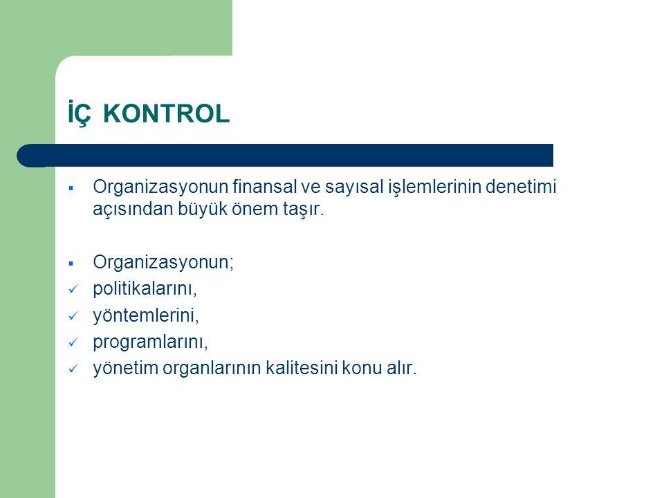 İÇ KONTROL  Organizasyonun finansal ve sayısal işlemlerinin denetimi açısından büyük önem taşır.  Organizasyonun;  politikalarını,  yöntemlerini,
