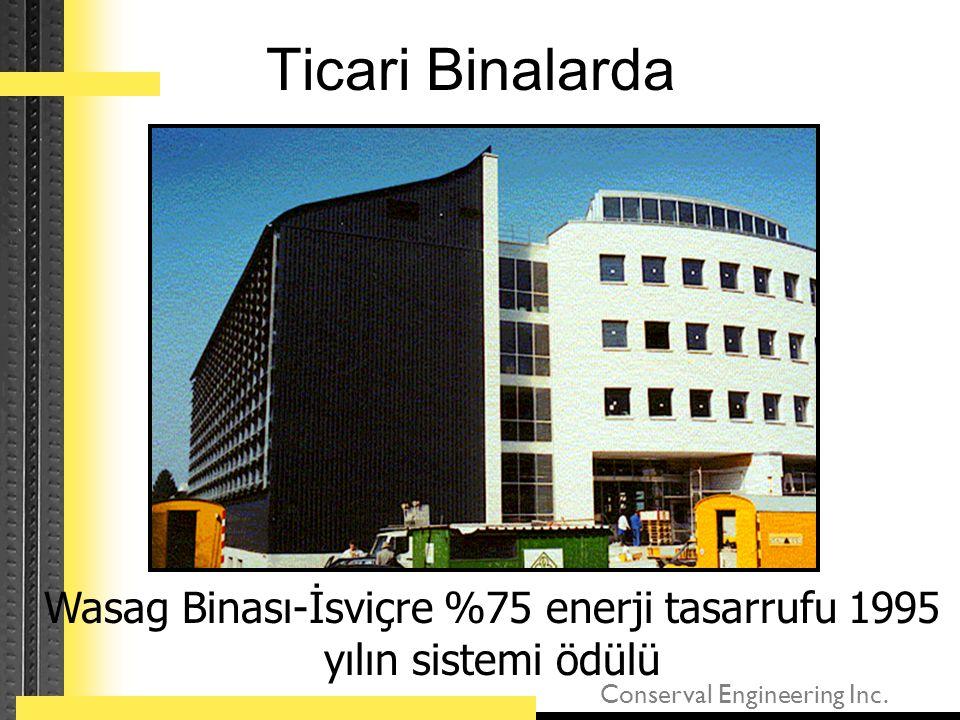 Conserval Engineering Inc. Ticari Binalarda Wasag Binası-İsviçre %75 enerji tasarrufu 1995 yılın sistemi ödülü