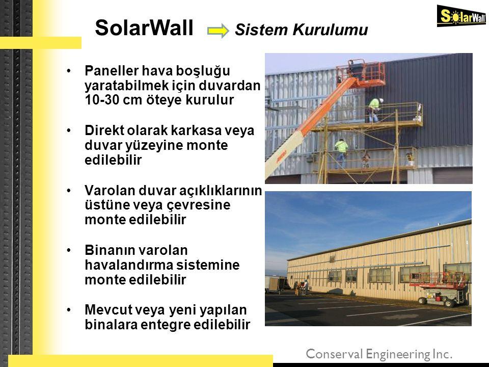 Conserval Engineering Inc. •Paneller hava boşluğu yaratabilmek için duvardan 10-30 cm öteye kurulur •Direkt olarak karkasa veya duvar yüzeyine monte e