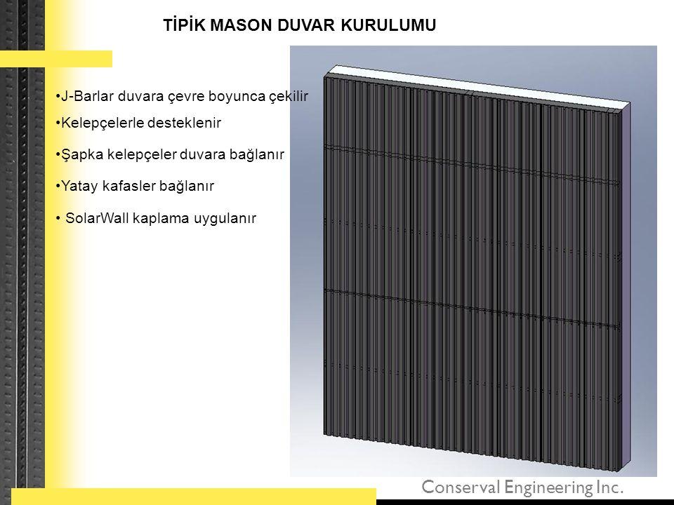 Conserval Engineering Inc. •J-Barlar duvara çevre boyunca çekilir TİPİK MASON DUVAR KURULUMU •Kelepçelerle desteklenir •Şapka kelepçeler duvara bağlan