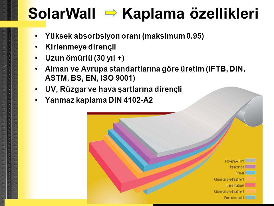 Conserval Engineering Inc. SolarWall Kaplama özellikleri •Yüksek absorbsiyon oranı (maksimum 0.95) •Kirlenmeye dirençli •Uzun ömürlü (30 yıl +) •Alman