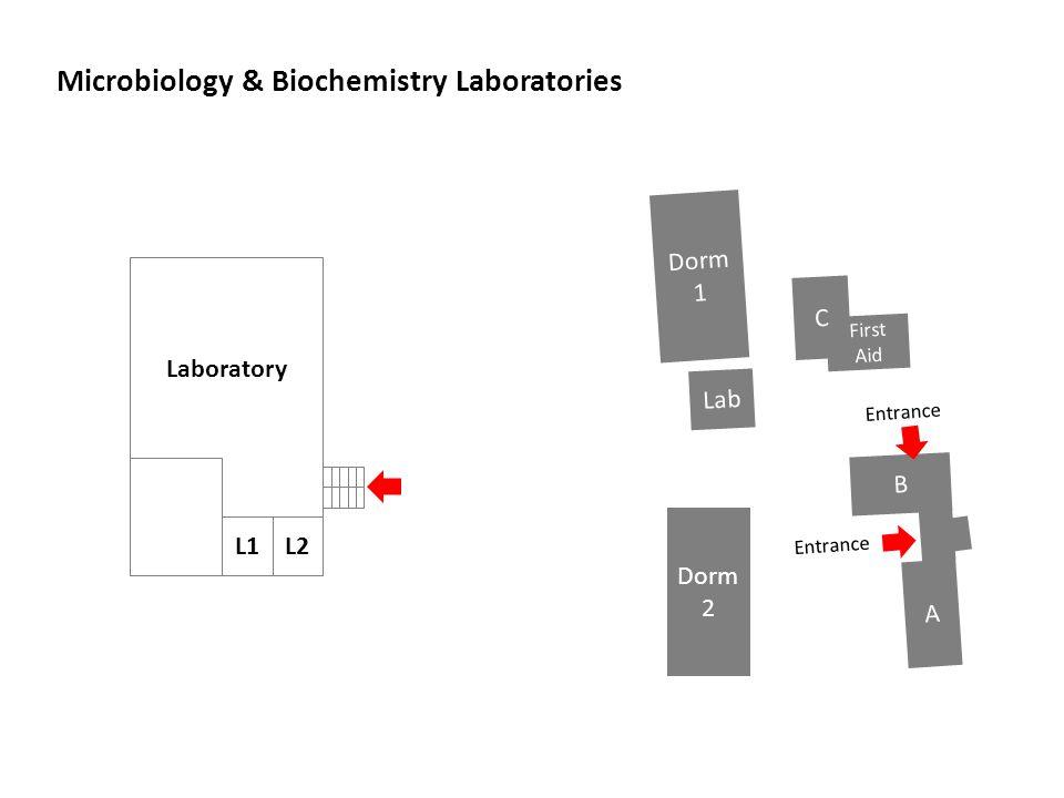 Microbiology & Biochemistry Laboratories B A First Aid Lab Dorm 1 Dorm 2 Entrance Laboratory L1 C L2 Entrance