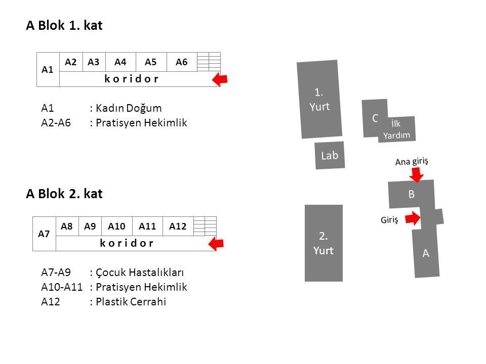 A Blok 1. kat A Blok 2. kat A1: Kadın Doğum A2-A6: Pratisyen Hekimlik A7-A9 : Çocuk Hastalıkları A10-A11: Pratisyen Hekimlik A12 : Plastik Cerrahi B A