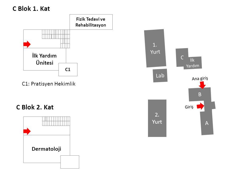 C Blok 1. Kat C Blok 2. Kat İlk Yardım Ünitesi C1 Fizik Tedavi ve Rehabilitasyon Dermatoloji C1: Pratisyen Hekimlik B A C Lab 1. Yurt 2. Yurt Ana giri