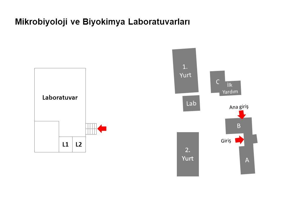 Mikrobiyoloji ve Biyokimya Laboratuvarları Laboratuvar L1L2 B A C Lab 1. Yurt 2. Yurt Ana giriş İlk Yardım Giriş