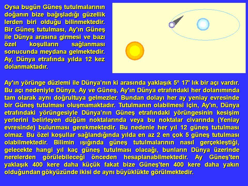 Oysa bugün Güneş tutulmalarının doğanın bize bağışladığı güzellik lerden biri olduğu bilinmektedir. Bir Güneş tutulması, Ay'ın Güneş ile Dünya arasına