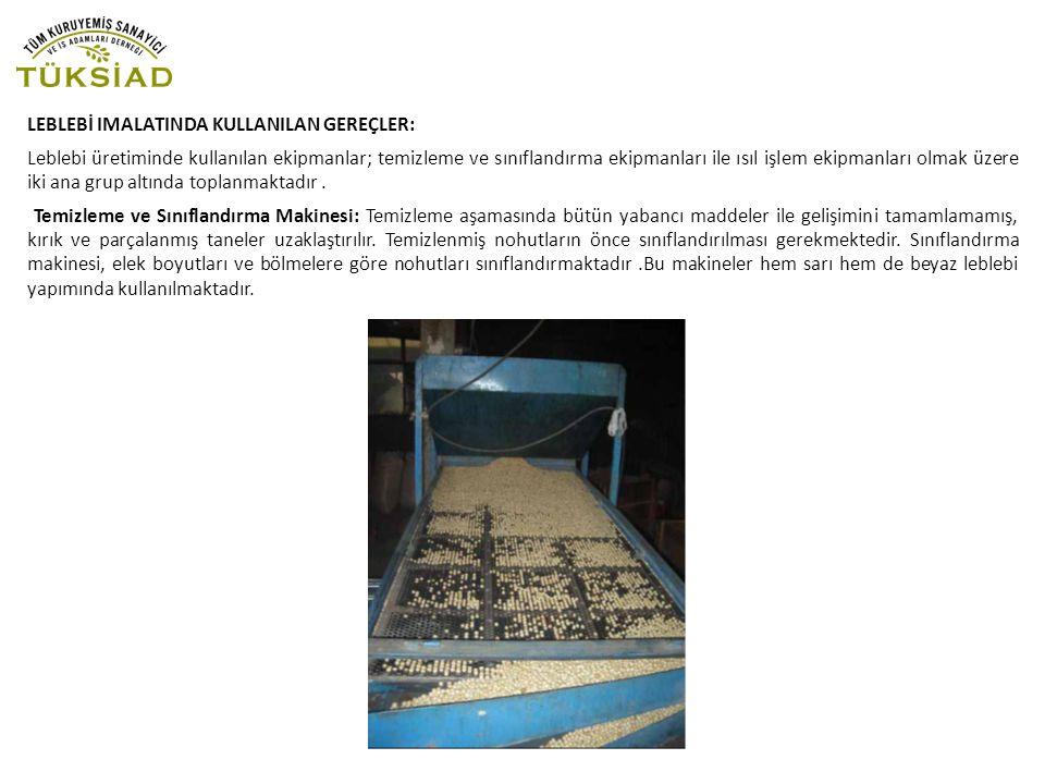 LEBLEBİ IMALATINDA KULLANILAN GEREÇLER: Leblebi üretiminde kullanılan ekipmanlar; temizleme ve sınıflandırma ekipmanları ile ısıl işlem ekipmanları ol