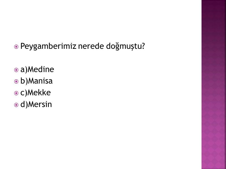  Peygamberimiz nerede doğmuştu?  a)Medine  b)Manisa  c)Mekke  d)Mersin