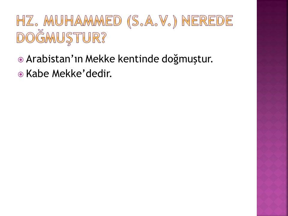  Arabistan'ın Mekke kentinde doğmuştur.  Kabe Mekke'dedir.