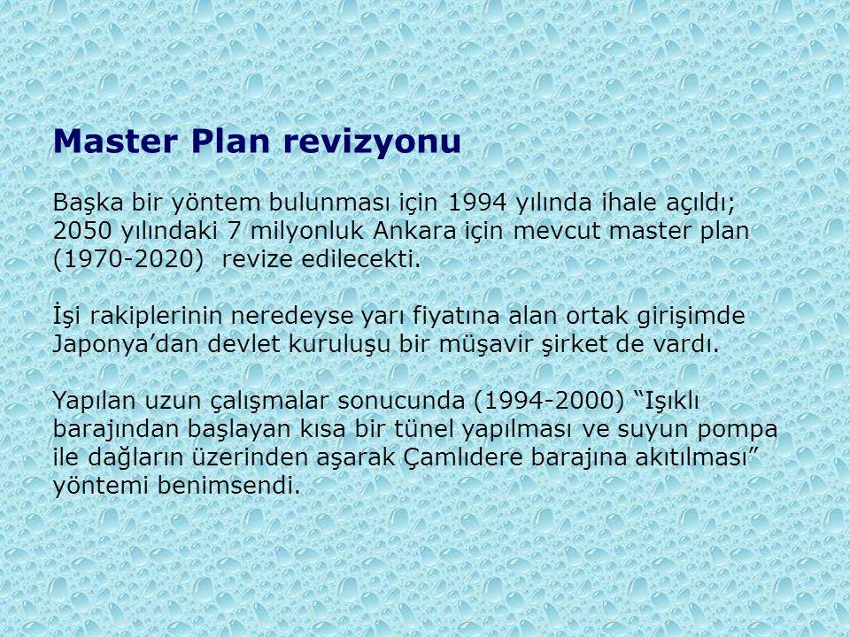 Master Plan revizyonu Başka bir yöntem bulunması için 1994 yılında ihale açıldı; 2050 yılındaki 7 milyonluk Ankara için mevcut master plan (1970-2020)