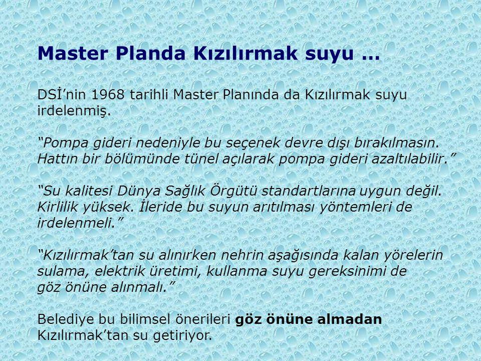 """Master Planda Kızılırmak suyu … DSİ'nin 1968 tarihli Master Planında da Kızılırmak suyu irdelenmiş. """"Pompa gideri nedeniyle bu seçenek devre dışı bıra"""