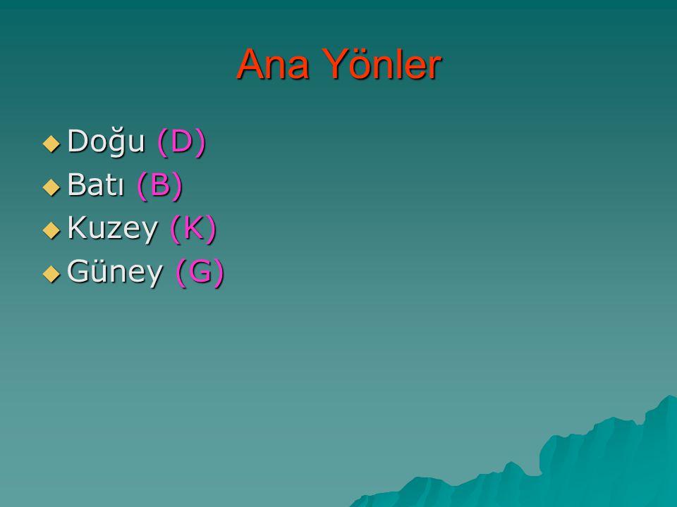 Ana Yönler  Doğu (D)  Batı (B)  Kuzey (K)  Güney (G)