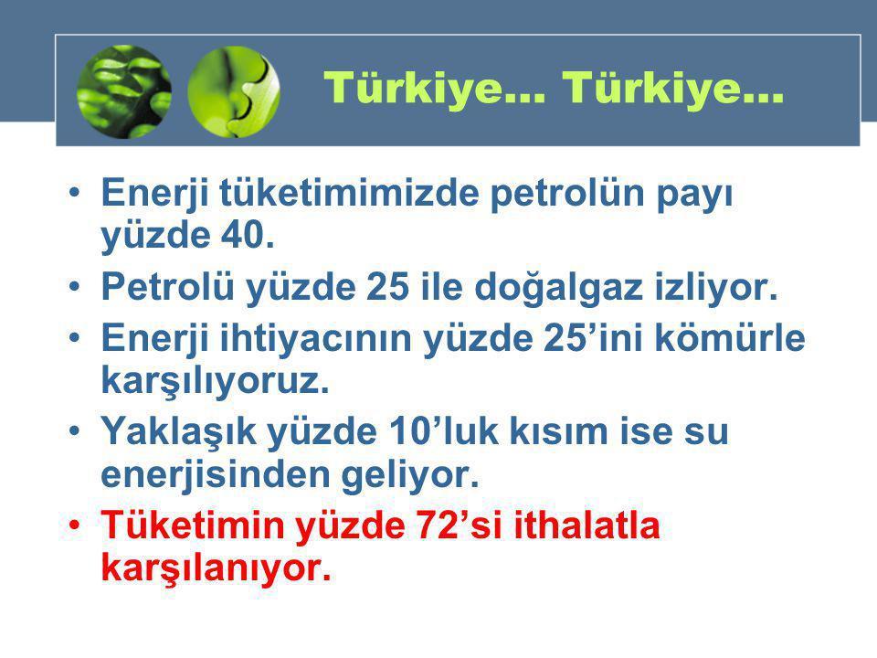Türkiye… Türkiye… •Enerji tüketimimizde petrolün payı yüzde 40. •Petrolü yüzde 25 ile doğalgaz izliyor. •Enerji ihtiyacının yüzde 25'ini kömürle karşı
