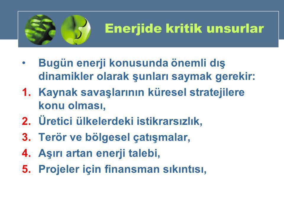 Enerjide kritik unsurlar •Bugün enerji konusunda önemli dış dinamikler olarak şunları saymak gerekir: 1.Kaynak savaşlarının küresel stratejilere konu