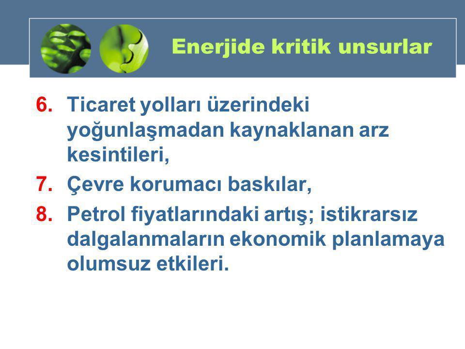 Enerjide kritik unsurlar 6.Ticaret yolları üzerindeki yoğunlaşmadan kaynaklanan arz kesintileri, 7.Çevre korumacı baskılar, 8.Petrol fiyatlarındaki ar