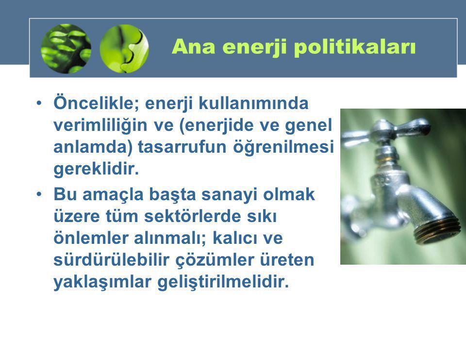 Ana enerji politikaları •Öncelikle; enerji kullanımında verimliliğin ve (enerjide ve genel anlamda) tasarrufun öğrenilmesi gereklidir. •Bu amaçla başt