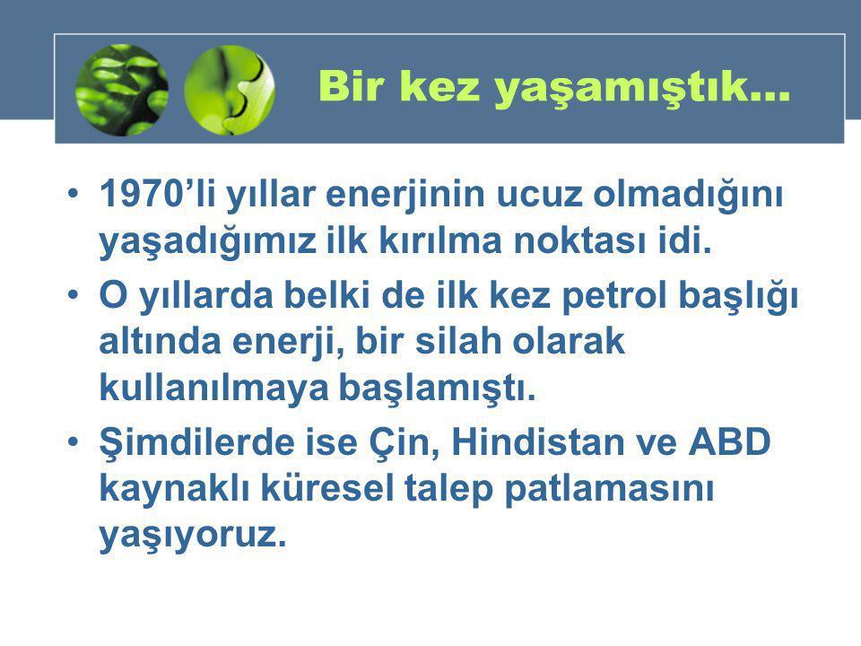 Dünyada önemli yönelimler •Ucuz ve kolay petrol dönemi sona erdi.