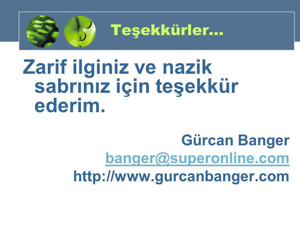 Teşekkürler… Zarif ilginiz ve nazik sabrınız için teşekkür ederim. Gürcan Banger banger@superonline.com http://www.gurcanbanger.com