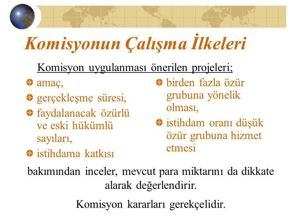 Komisyonun Çalışma İlkeleri Komisyon uygulanması önerilen projeleri; amaç, gerçekleşme süresi, faydalanacak özürlü ve eski hükümlü sayıları, istihdama