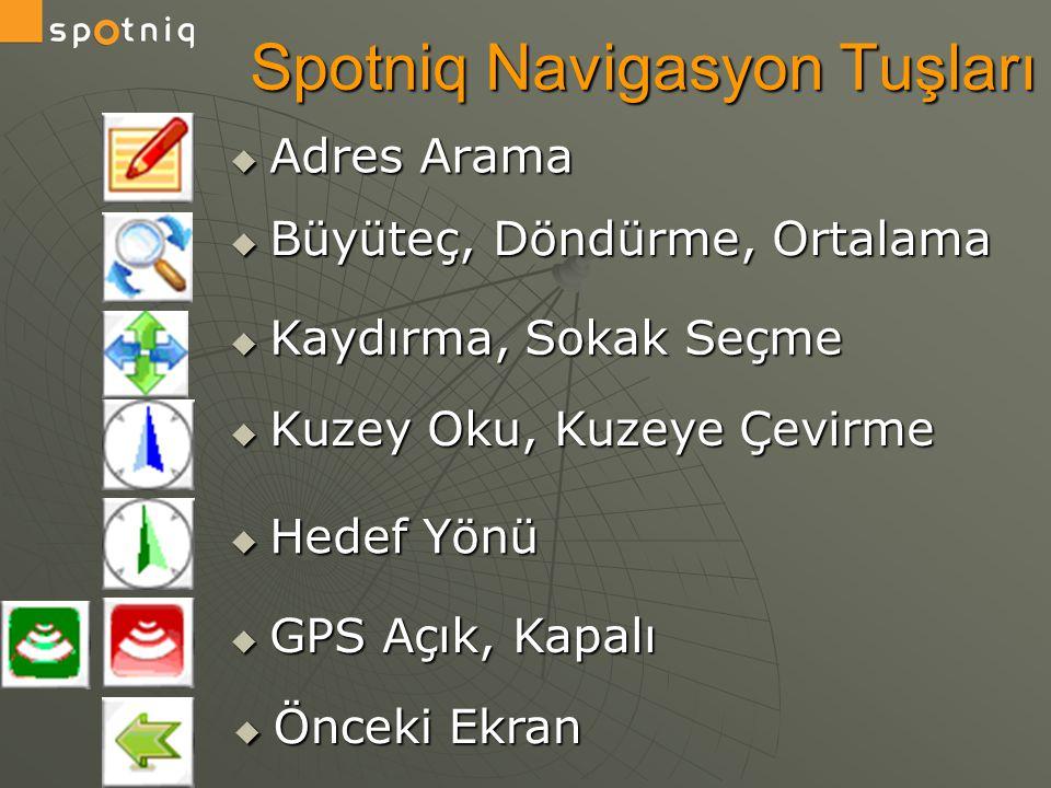  Adres Arama Spotniq Navigasyon Tuşları  Önceki Ekran  Büyüteç, Döndürme, Ortalama  Kaydırma, Sokak Seçme  Kuzey Oku, Kuzeye Çevirme  Hedef Yönü