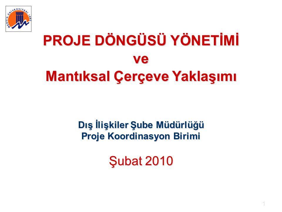 1 PROJE DÖNGÜSÜ YÖNETİMİ ve Mantıksal Çerçeve Yaklaşımı Dış İlişkiler Şube Müdürlüğü Proje Koordinasyon Birimi Şubat 2010
