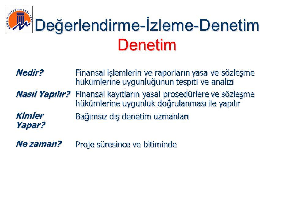 Değerlendirme-İzleme-Denetim Denetim Nedir? Finansal işlemlerin ve raporların yasa ve sözleşme hükümlerine uygunluğunun tespiti ve analizi Nasıl Yapıl