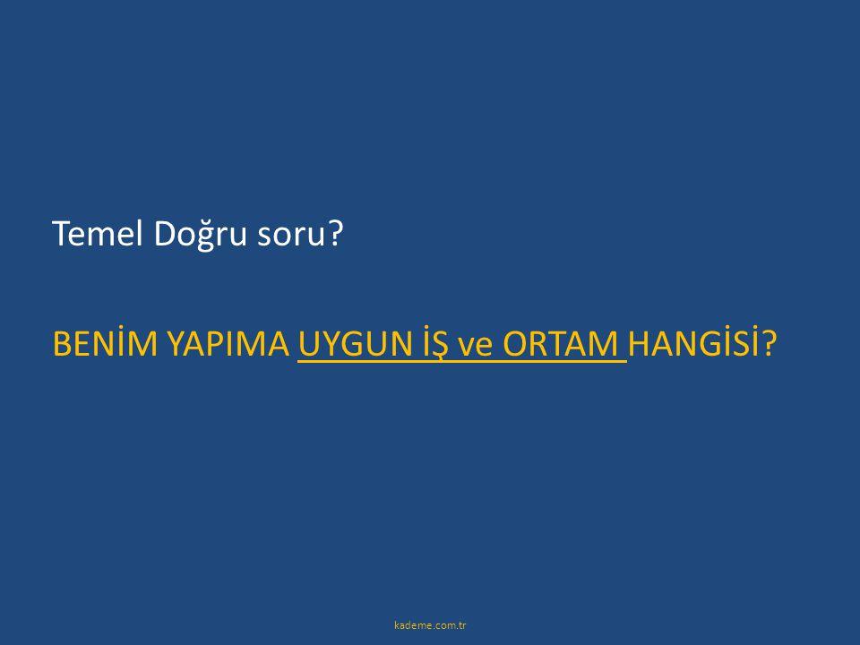 Temel Doğru soru? BENİM YAPIMA UYGUN İŞ ve ORTAM HANGİSİ? kademe.com.tr