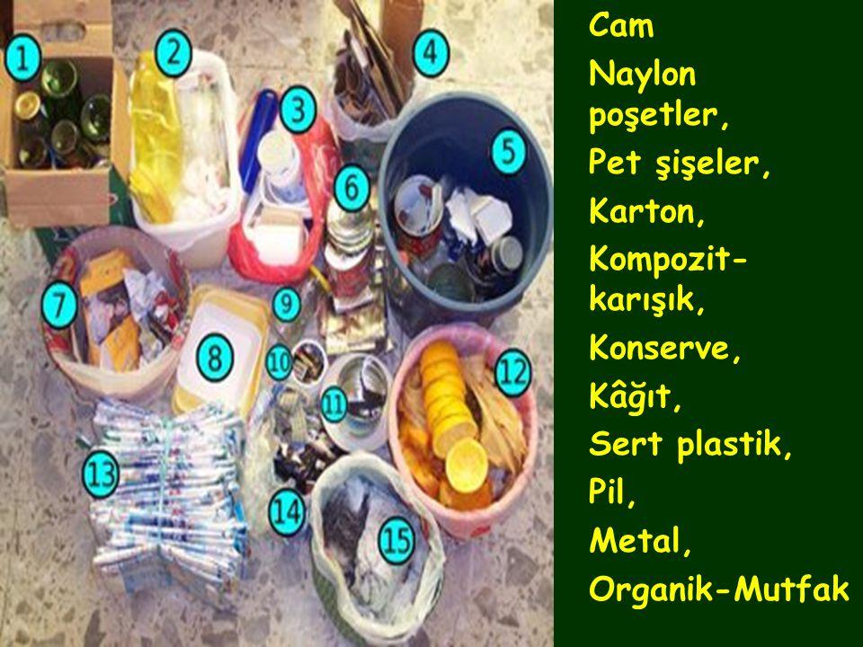 •Cam •Naylon poşetler, •Pet şişeler, •Karton, •Kompozit- karışık, •Konserve, •Kâğıt, •Sert plastik, •Pil, •Metal, •Organik-Mutfak