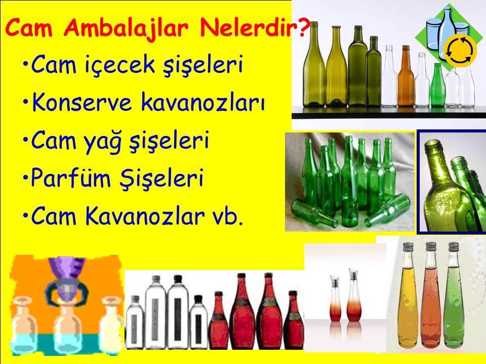 Cam Ambalajlar Nelerdir? •Cam içecek şişeleri •Konserve kavanozları •Cam yağ şişeleri •Parfüm Şişeleri •Cam Kavanozlar vb.