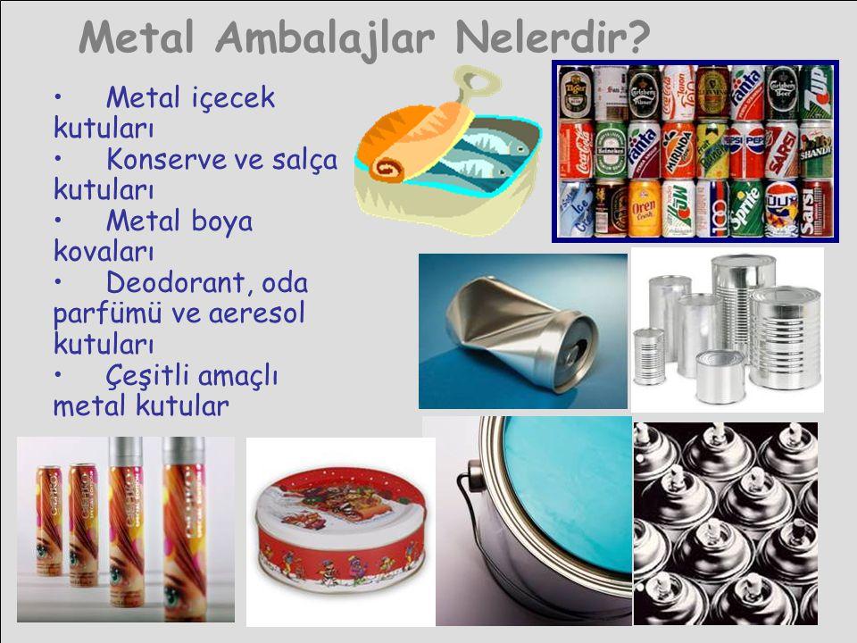 Metal Ambalajlar Nelerdir? • Metal içecek kutuları • Konserve ve salça kutuları • Metal boya kovaları • Deodorant, oda parfümü ve aeresol kutuları • Ç