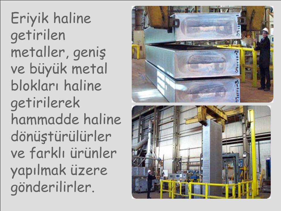 Eriyik haline getirilen metaller, geniş ve büyük metal blokları haline getirilerek hammadde haline dönüştürülürler ve farklı ürünler yapılmak üzere gö