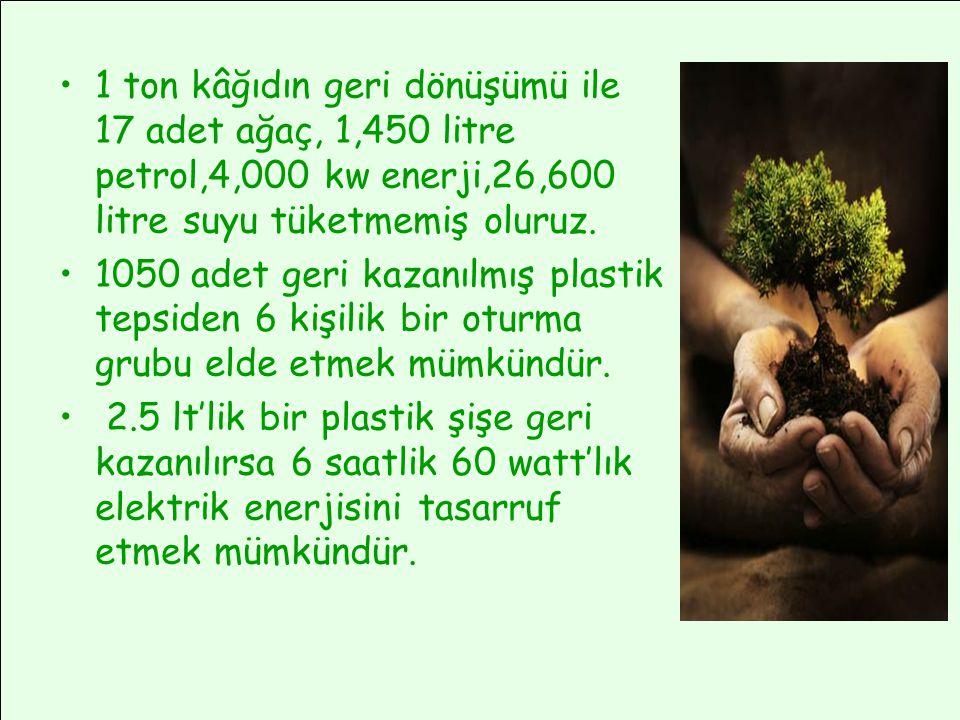 •1 ton kâğıdın geri dönüşümü ile 17 adet ağaç, 1,450 litre petrol,4,000 kw enerji,26,600 litre suyu tüketmemiş oluruz. •1050 adet geri kazanılmış plas