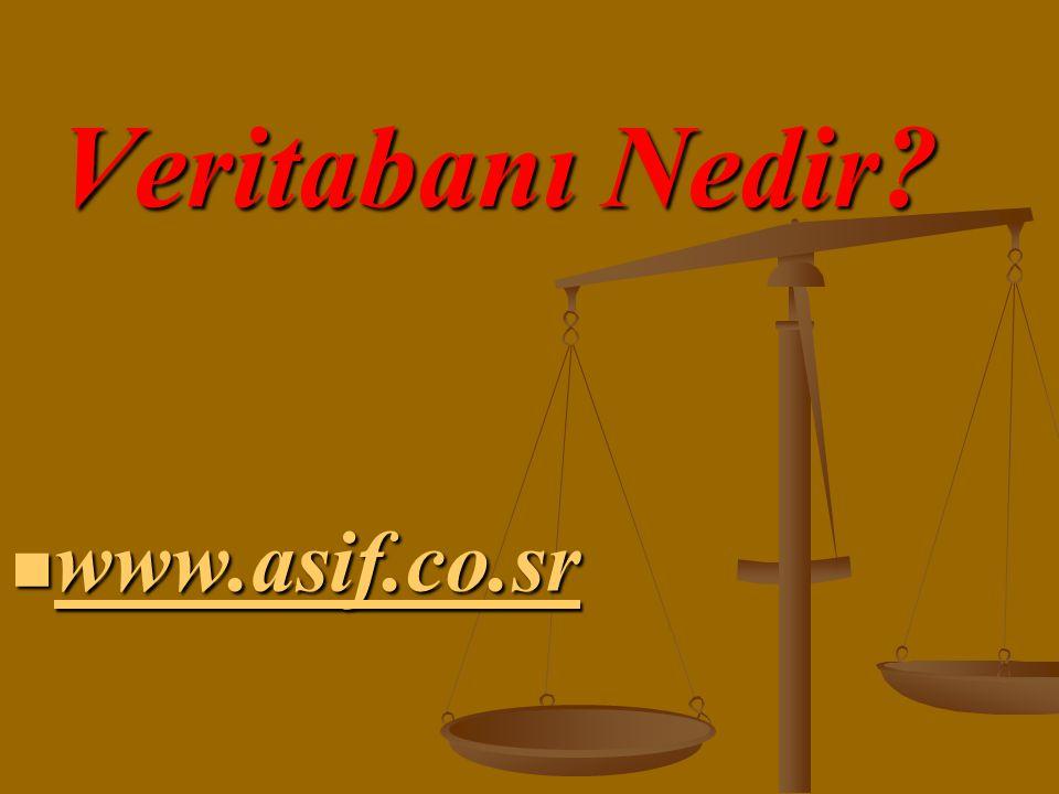 Veritabanı Nedir?  www.asif.co.sr www.asif.co.sr