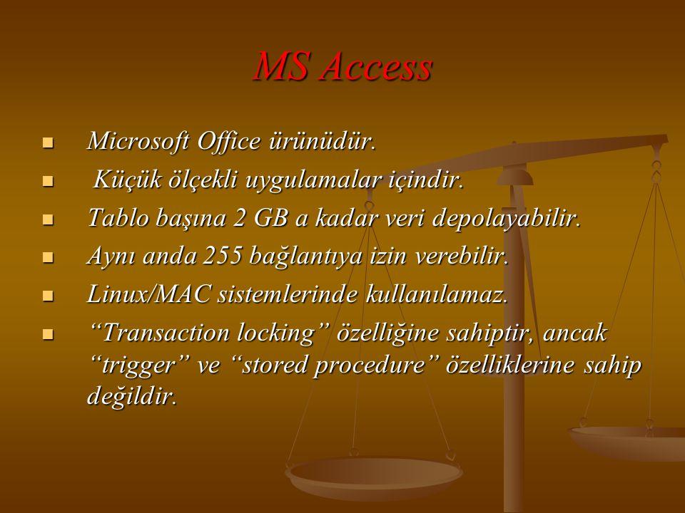 MS Access  Microsoft Office ürünüdür. Küçük ölçekli uygulamalar içindir.