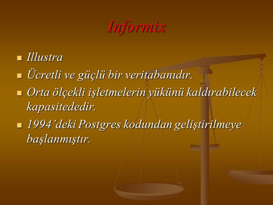 Informix  Illustra  Ücretli ve güçlü bir veritabanıdır.