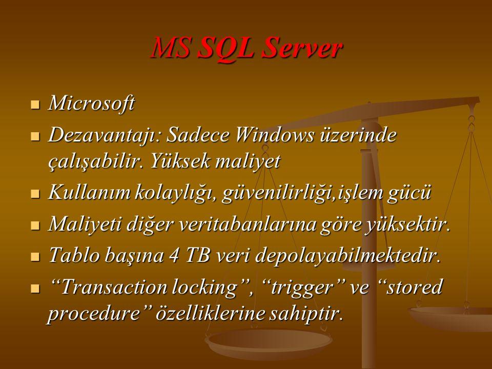 MS SQL Server  Microsoft  Dezavantajı: Sadece Windows üzerinde çalışabilir.