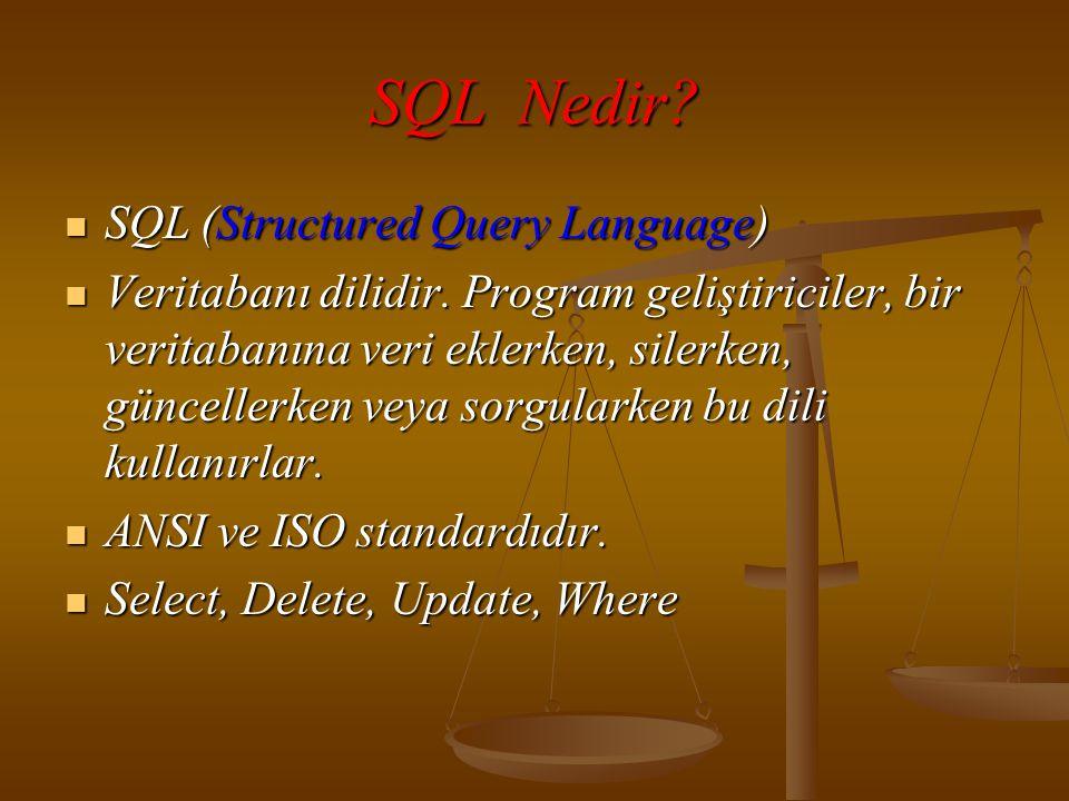 SQL Nedir. SQL (Structured Query Language)  Veritabanı dilidir.