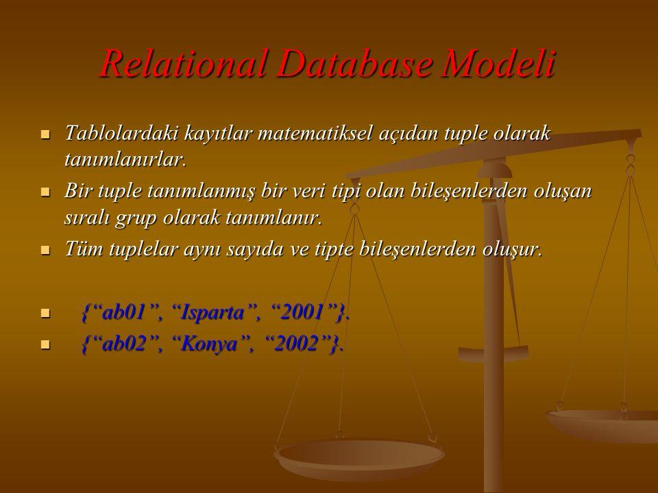 Relational Database Modeli  Örnekteki her bir tuple da 3 bileşen bulunmaktadır:  Kaçıncı akademik bilişim olduğu (string)  Hangi ilde yapıldığı (string)  Yıl (numeric)  Relational veritabanlarında bu kümeye ya da tabloya eklenen tüm kayıtlar aynı biçemde olmalıdırlar