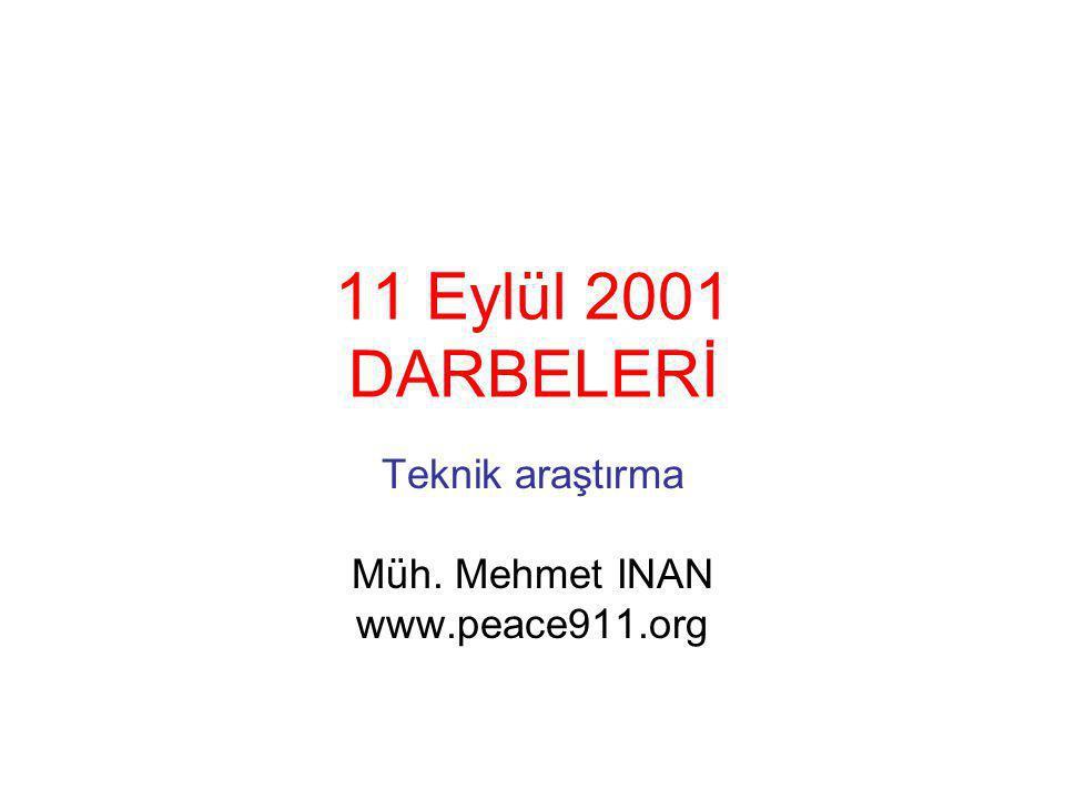 11 Eylül 2001 DARBELERİ Teknik araştırma Müh. Mehmet INAN www.peace911.org