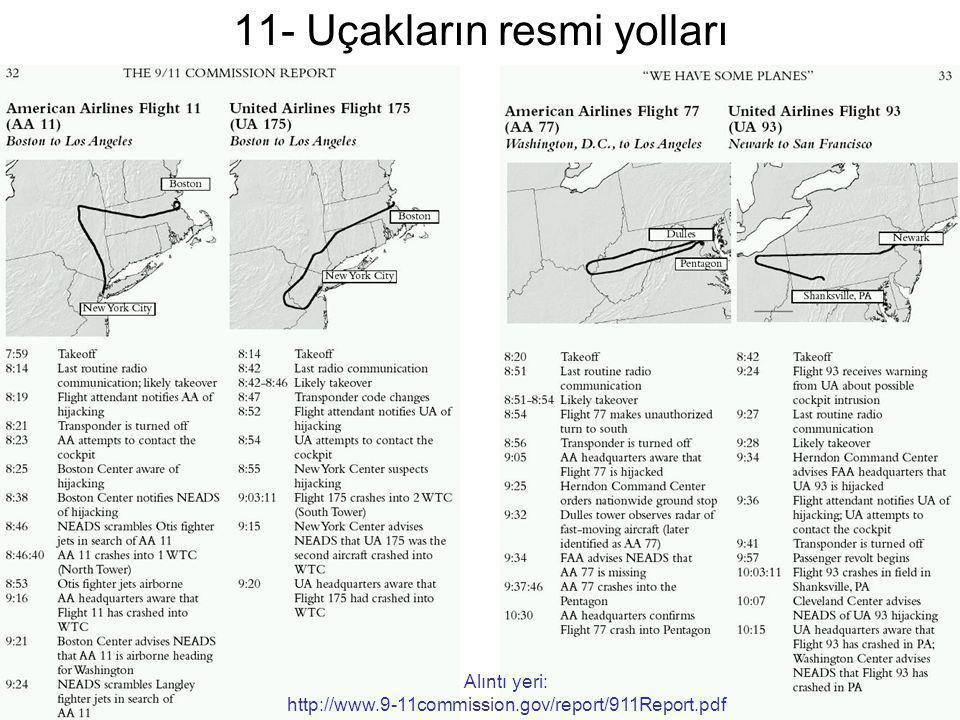 11- Uçakların resmi yolları Alıntı yeri: http://www.9-11commission.gov/report/911Report.pdf