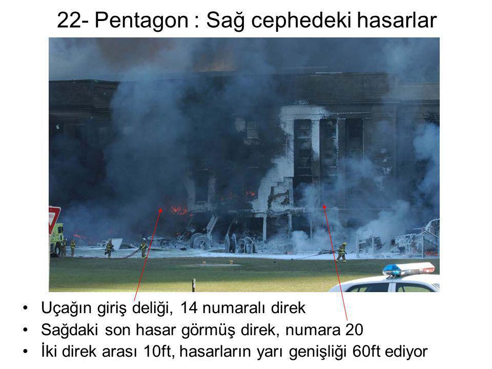 22- Pentagon : Sağ cephedeki hasarlar •Uçağın giriş deliği, 14 numaralı direk •Sağdaki son hasar görmüş direk, numara 20 •İki direk arası 10ft, hasarl