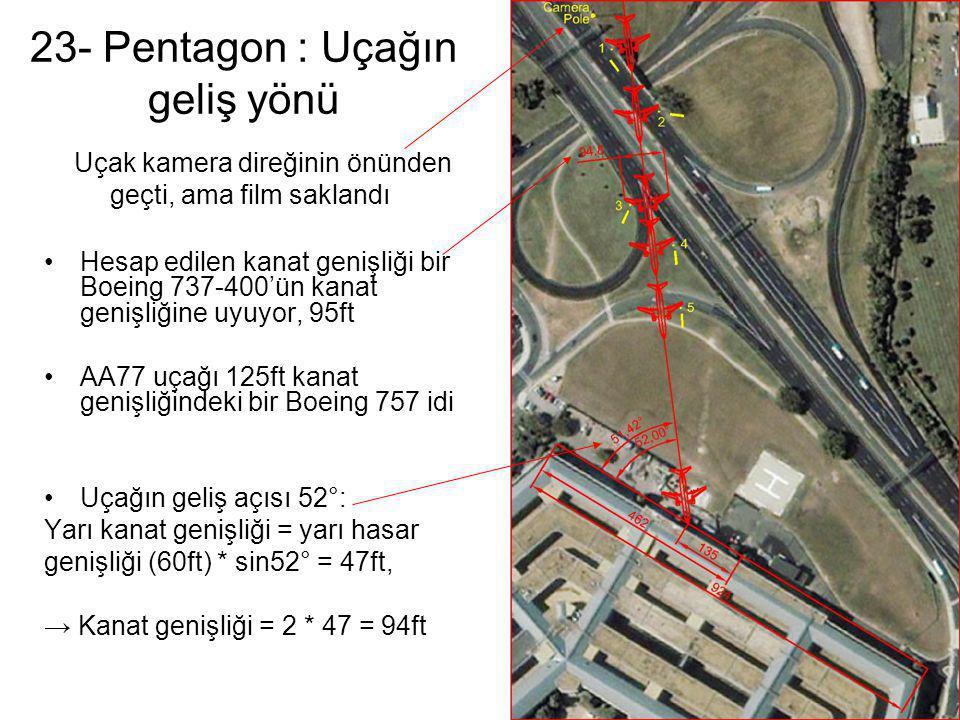 23- Pentagon : Uçağın geliş yönü •Hesap edilen kanat genişliği bir Boeing 737-400'ün kanat genişliğine uyuyor, 95ft •AA77 uçağı 125ft kanat genişliğin