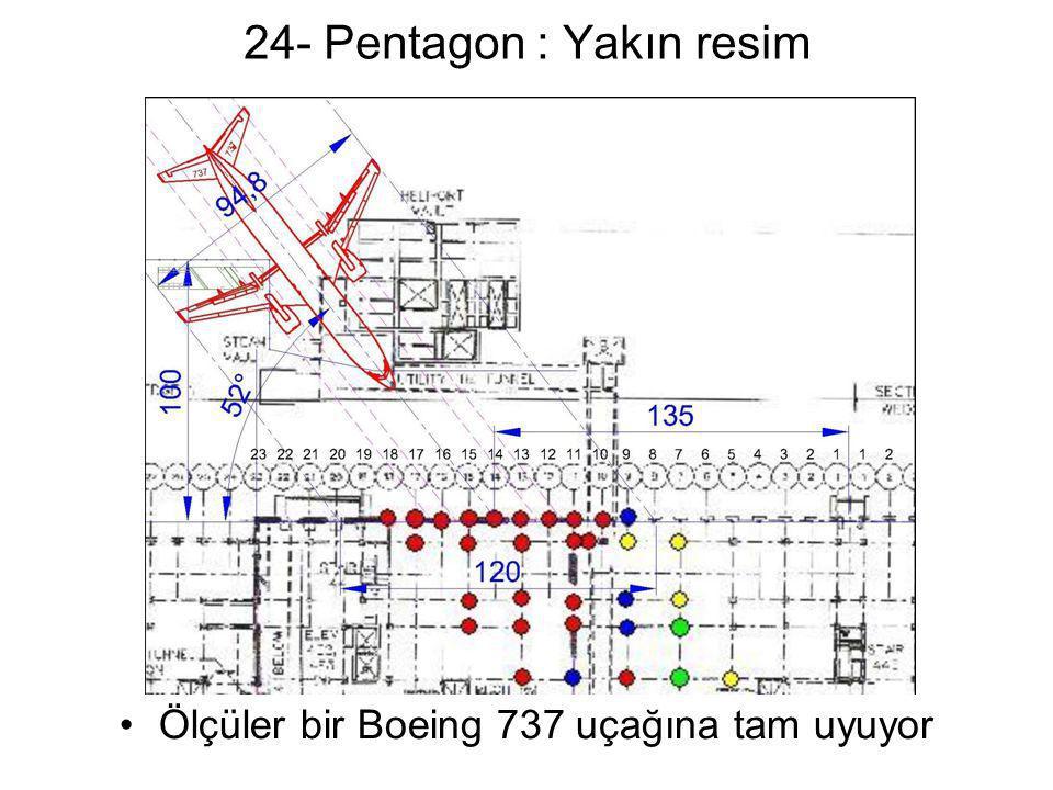 24- Pentagon : Yakın resim •Ölçüler bir Boeing 737 uçağına tam uyuyor