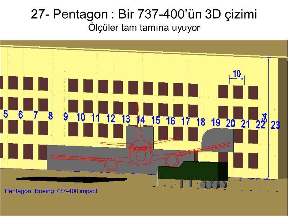 27- Pentagon : Bir 737-400'ün 3D çizimi Ölçüler tam tamına uyuyor