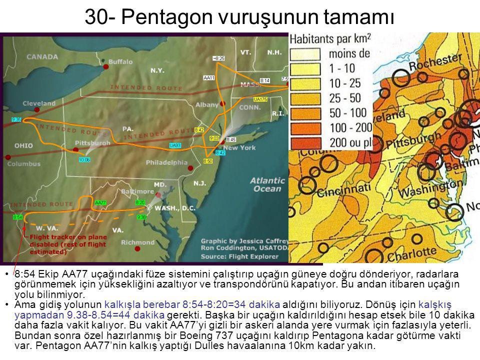 30- Pentagon vuruşunun tamamı •8:54 Ekip AA77 uçağındaki füze sistemini çalıştırıp uçağın güneye doğru dönderiyor, radarlara görünmemek için yüksekliğ
