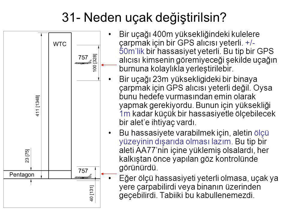 31- Neden uçak değiştirilsin? •Bir uçağı 400m yüksekliğindeki kulelere çarpmak için bir GPS alıcısı yeterli. +/- 50m'lik bir hassasiyet yeterli. Bu ti