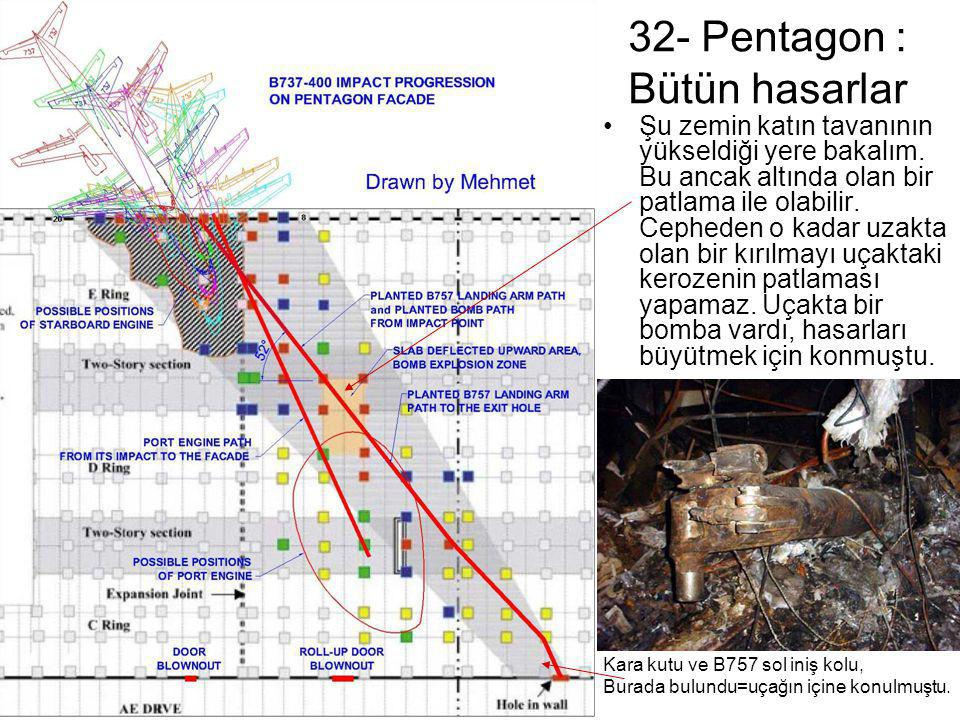 32- Pentagon : Bütün hasarlar •Şu zemin katın tavanının yükseldiği yere bakalım. Bu ancak altında olan bir patlama ile olabilir. Cepheden o kadar uzak