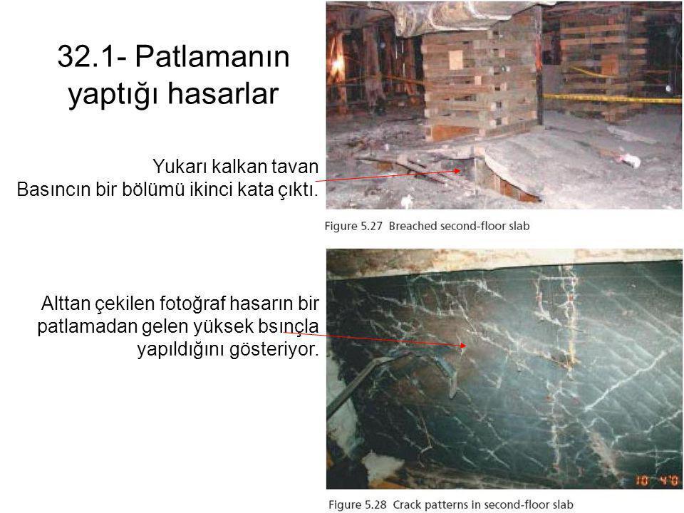 32.1- Patlamanın yaptığı hasarlar Yukarı kalkan tavan Basıncın bir bölümü ikinci kata çıktı. Alttan çekilen fotoğraf hasarın bir patlamadan gelen yüks
