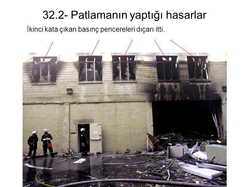 32.2- Patlamanın yaptığı hasarlar İkinci kata çıkan basınç pencereleri dıçarı itti.