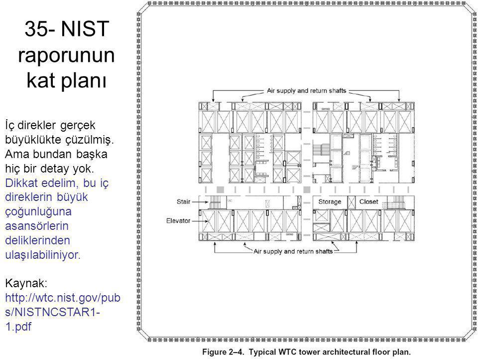 35- NIST raporunun kat planı İç direkler gerçek büyüklükte çüzülmiş. Ama bundan başka hiç bir detay yok. Dikkat edelim, bu iç direklerin büyük çoğunlu